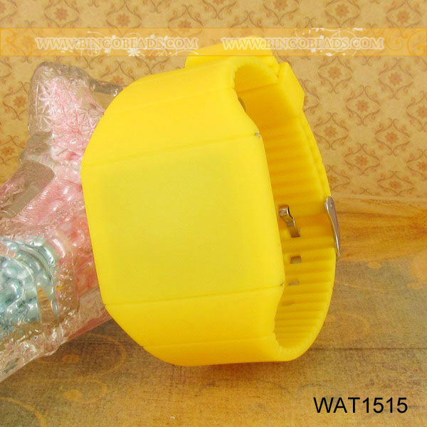 Unisex Women Silicone Rubber Jelly Ice Nagative Ion Sport Bracelet Watch Wrist Cuff Watch