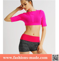 OEM Hot Sales Red Lovely Yoga Wear Ladies Wholesale Half Yoga Top