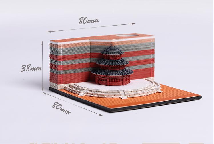 Custom cute design building Novelty Stick writing 3D Sticky Note Memo Pads