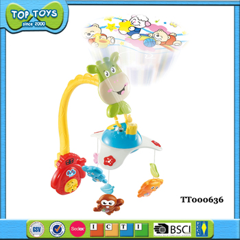 B/O plastic baby musical hanging toys shaking bell with projection