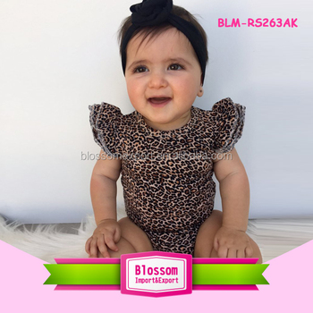 HOT SALES Kids Flutter Sleeve romper Baby Girl Cotton Leopard Toddler Flutter Sleeve Onesie