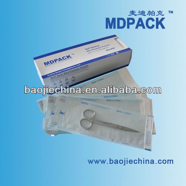 medical autoclave sterilisation packaging plastic bags/paper pouches
