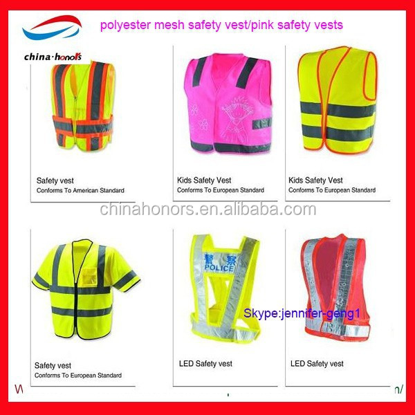 polyester mesh safety vest/pink safety vests with pockets