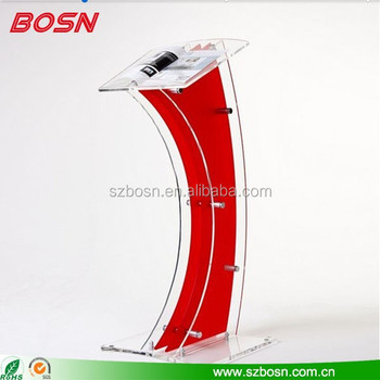 ShenZhen BOSN Factory Supply Acrylic lectern Perspex pulpit wholesale