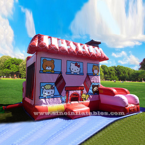 Commercial outdoor N indoor hello kitty inflatable jumping castles with slide for kids parties made of 0.55mm pvc tarpaulin