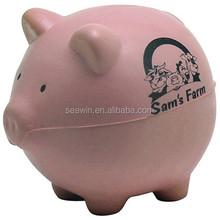 pink PU foam pig stress toy ball
