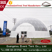 Water proof PVC dome with wodden floor, aluminum frame geodesic dome tent with good ventilation