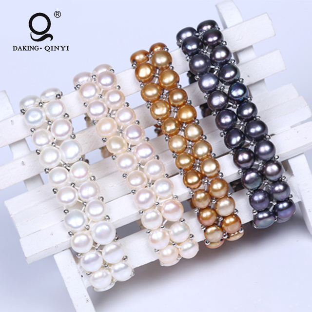 Cheap Custom Fashion Handmade 2 Row Pearl Bead Bracelets Bangles