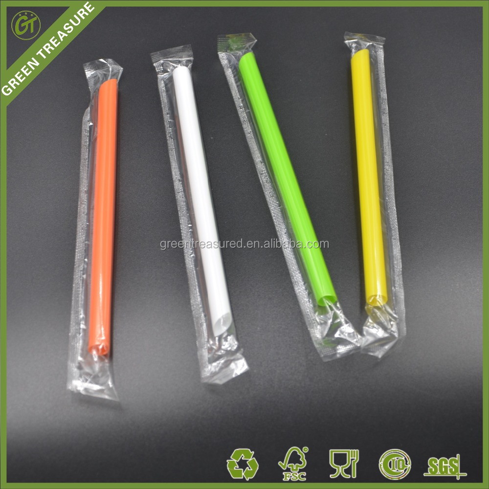 2016 Colorful Beverage Use Juice Bubble Tea Plastic Straw for Drinking