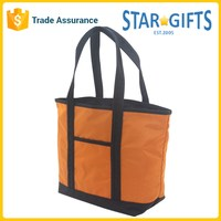 China Supplier Wholesale Two Tone Logo Printed Promotional Polyester Shopping Bag