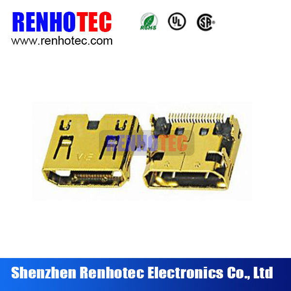 HDMI C type female right angle connector SMT&DIP Mini HDMI C type female Climp Connector