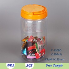 Leisure food cylinder bottle for cotton candy 1.3L plastic peanut container