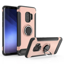 Magnetic Car Holder Cover Rolative Ring Stand Case For Samsung S9 Carbon Fiber Cover