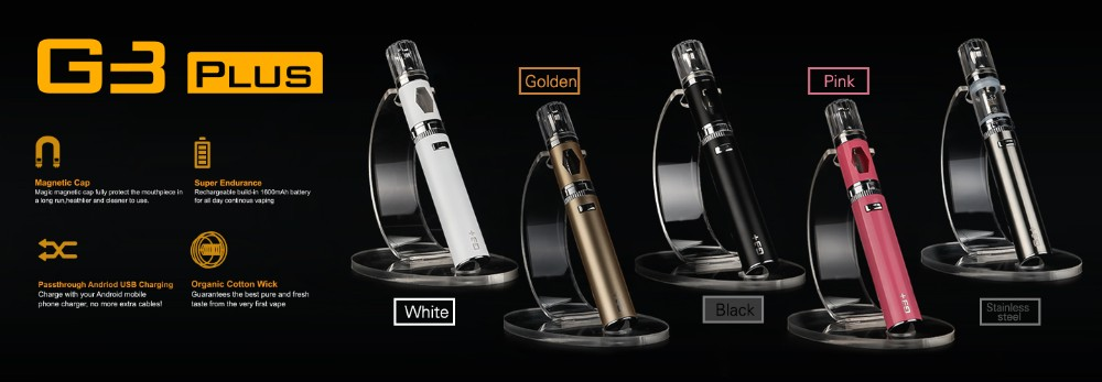 New Design 1600mah ecig starter kit ego passthrough battery G3 Plus kit Micro USB charging port magnetic dust cap