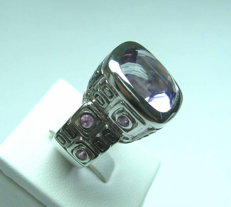 925 sterling silver ring with Amethyst and Pink Sapphire