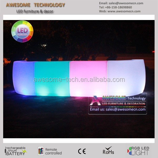 lighted polyethylene moulded bar / movable light up bar table / outdoor led bar reception desk