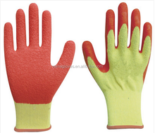Knitted cotton line latex coated work gloves/heavy duty rubber gloves