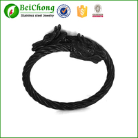 Multi-layer black wire bracelets 316l stainless steel cable black bracelets with dragon head clasp