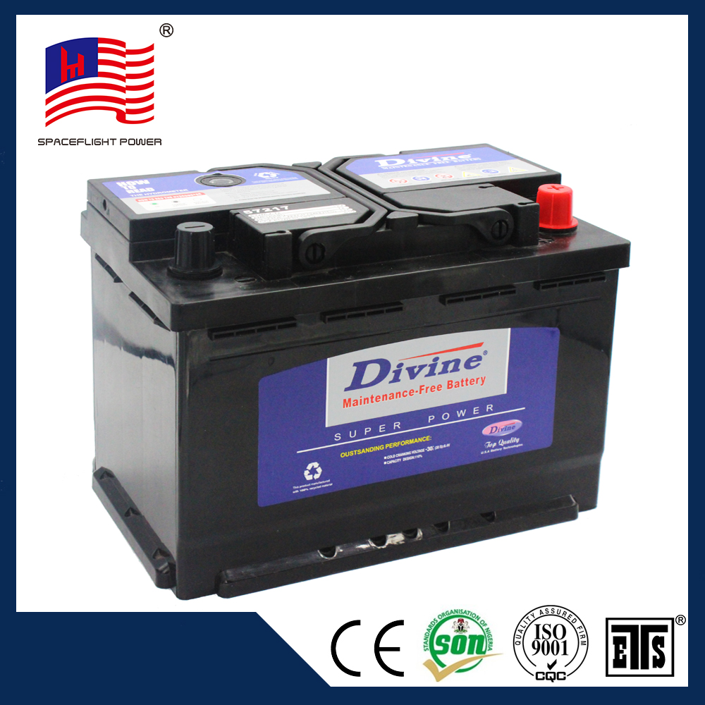 Small 57217 mf72ah car battery/auto power battery