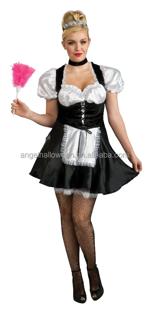 Halloween Costume French Maid Fancy Party Dress Full Outfit Party Wear AGC2410