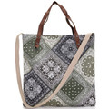 Shoulder strap leather trim canvas custom women tote bag