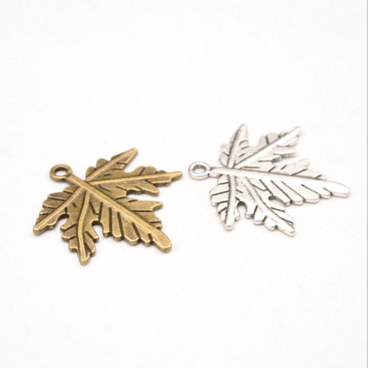 50pcs Tibetan Silver Alloy  Leaf Pendants Lead Free  Metal Dangle Charms 14x7mm