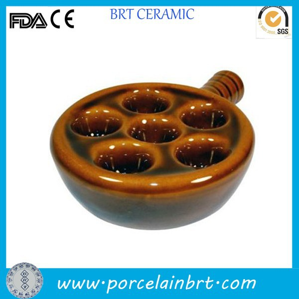 Good selling brown Escargot Snail Plate with handle wholesale