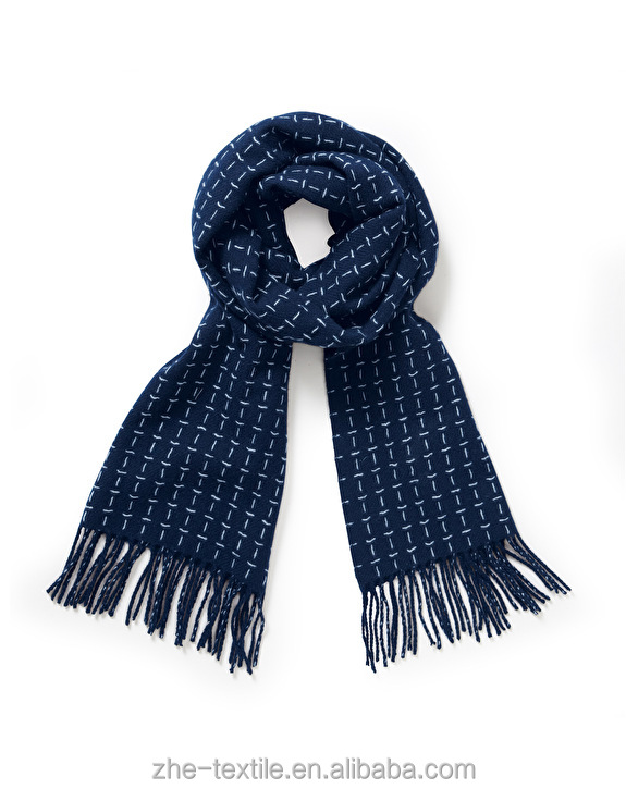 woolen 100% pure cashmere scarf navy color