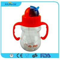 Red Plastic Kids Sport Water Bottle with Straw and Handle 105806