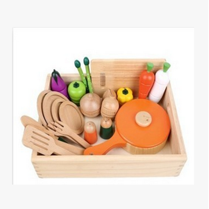 Environmental Safety Mini Play Cooking Wooden Kitchen Set Toy for Kids