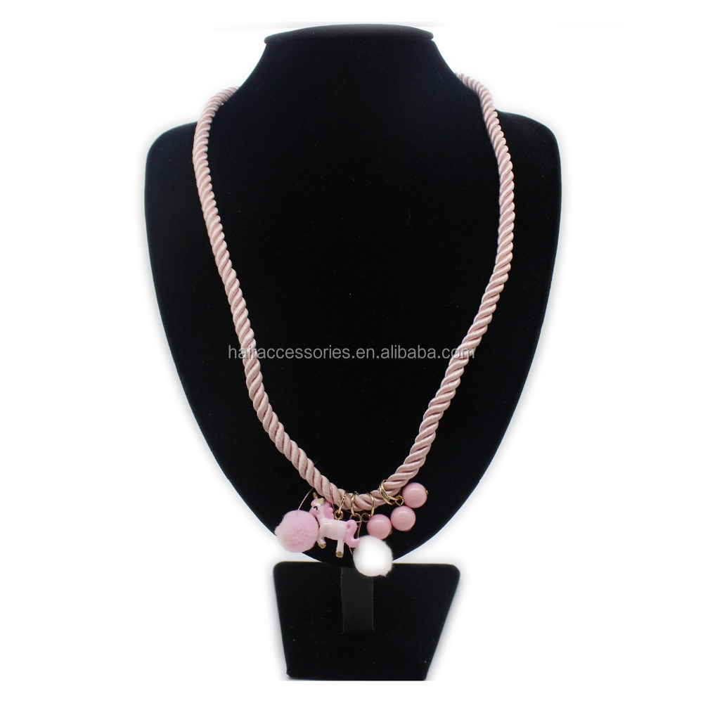 Fashion Baby Jewelries Sets-Bead Bracelets and Necklaces with Pompom and Unicorn For Girls