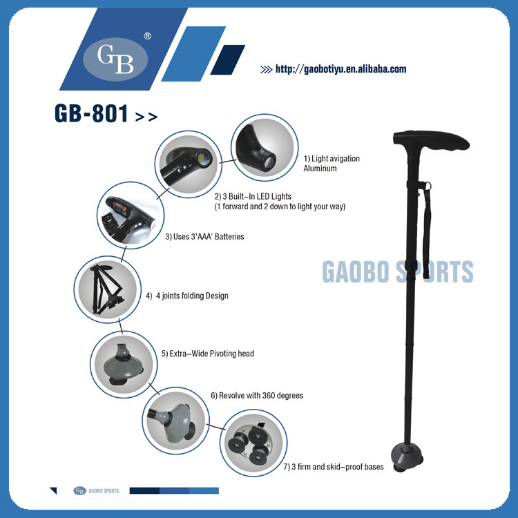 Hot Selling Folding Elderly Walking Cane With Built-in Lights As Seen On TV