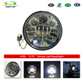 "5.75"" Round LED Projection Daymaker Headlight for Harley Davidson Motorcycles Black chrome J209"