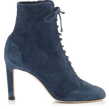 Factory Cool Deep Blue Lace Up Suede Leather Ankle Boots Lady Shoe