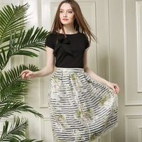 Genuine summer new package printing organza short sleeve dress skirts piece women lady girl Skirts