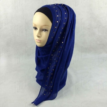 Yiwu new designs hot arab muslim hijab scarf cotton wrap scarfs with stones