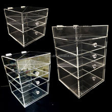 4 Drawer Acrylic Make Up Organizer , 3 Drawer Transparent Acrylic Cosmetic Jewelry Organizer with Divider Top Tray