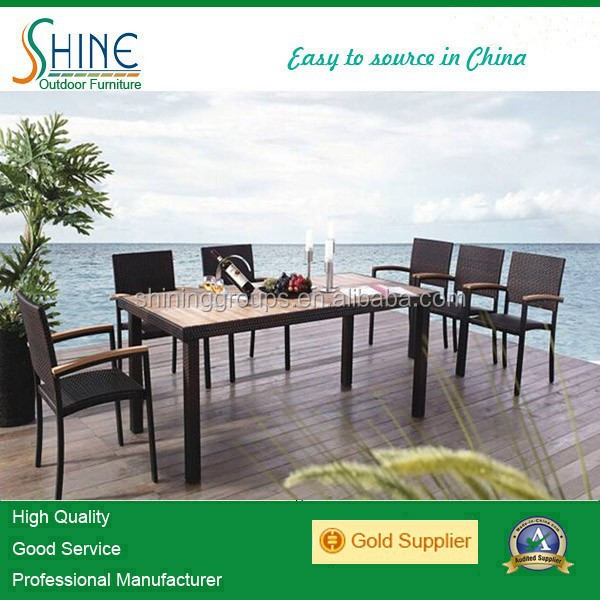 Rattan dining table and chair set out door furniture garden