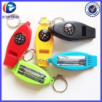 Keychain Whistle with Compass Magnifier and Thermometer