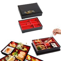 Wholesale 5 Compartment japanese plastic lunch bento box for Sushi Restaurant