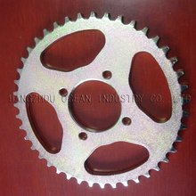 Motorcycle sprocket with yellow Zinc plated