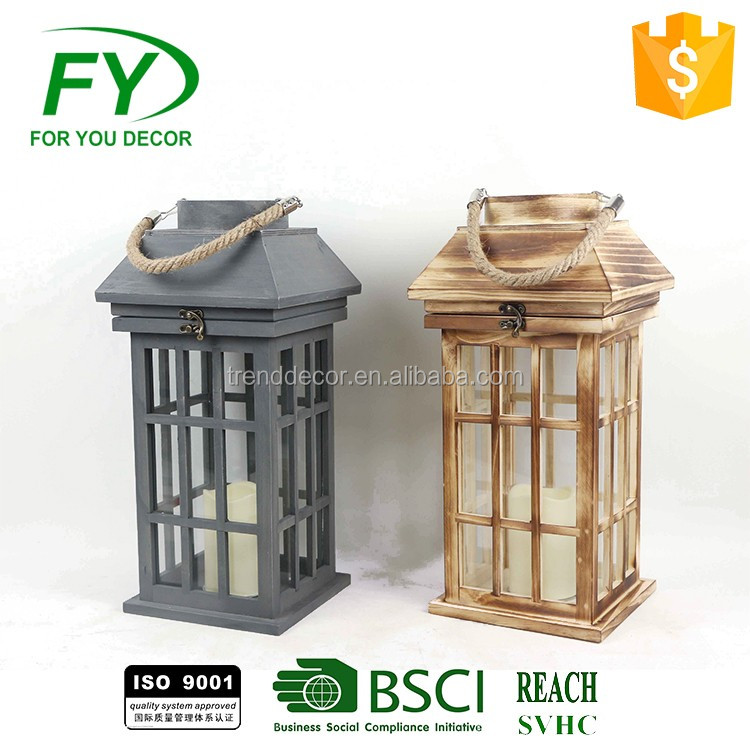 set of 2 Pine wood popular new design classical vintage good quality decoration wooden candle lantern