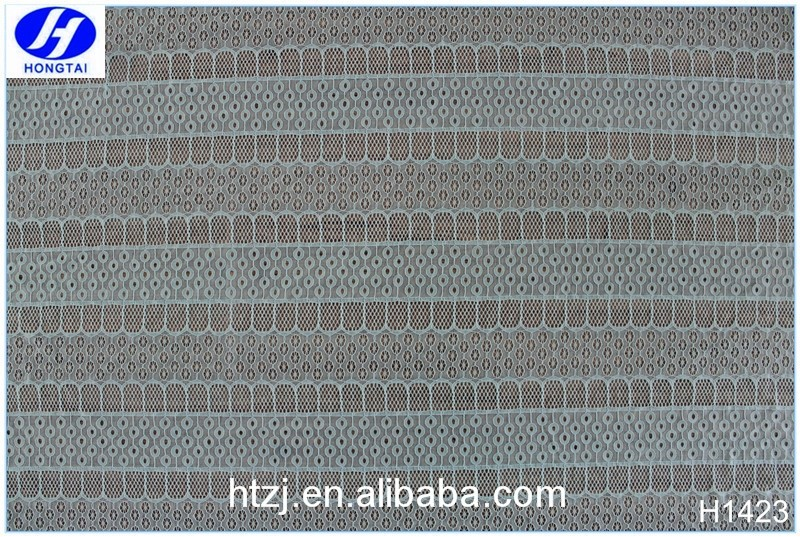 2017 Hongtai new fancy dot factory price polyester cotton fabric elastic lace knitting fabric in China