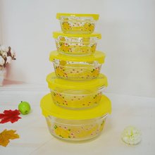 Eco-friendly and food grade cheap fresh glass bowl 5pcs set with plastic lid from Bengbu cattelan glassware
