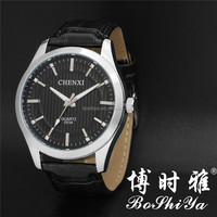 Japan movement men leather strap quartz watch 053A
