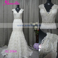Real Sample Cap Sleeve Mermaid New Fashion Lace Applique Wedding Dress 2013