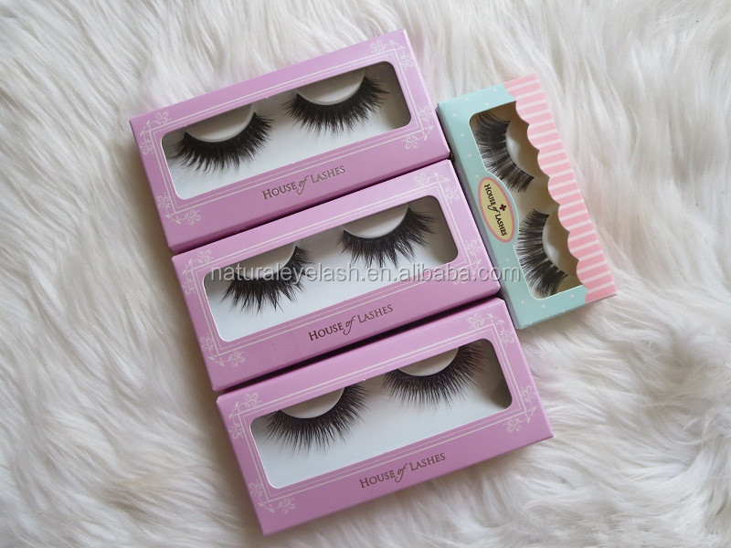 Wholesale new design 100% handmade synthetic hair false eyelash with private label and custom box