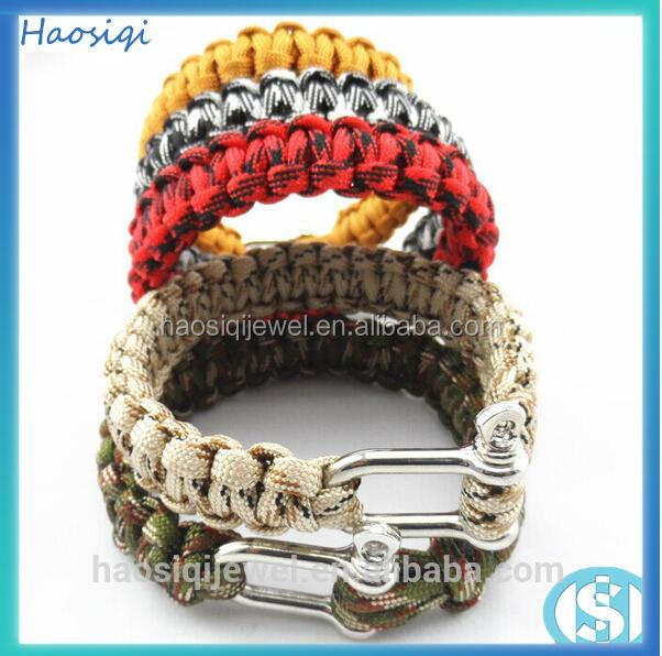 fashion survival bracelet jewelry string and wrist bracelets bangles for mens