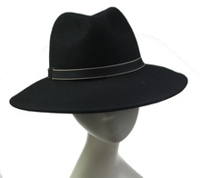 Fancy Ladies Black100% Wool Fedora Cowboy Hats Folding