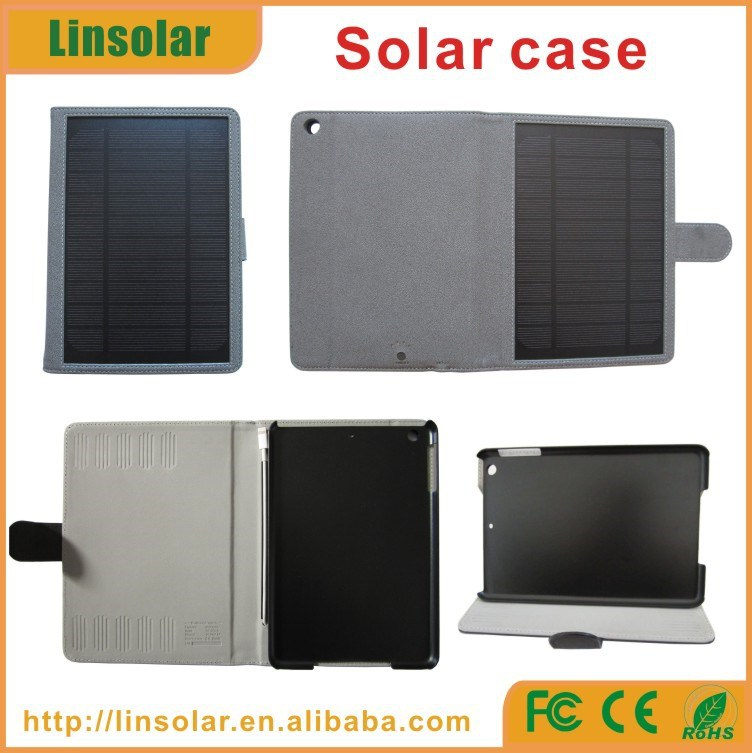 leather material 6000mah built-in battery solar panel solar charger case for mini ipad